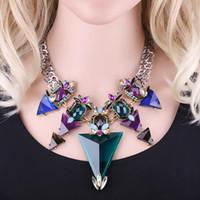Bohemian big choker - Women Choker Necklace Statement Europe United States Big Triangle Crystal Glass Bule Green Necklacke Jewelry