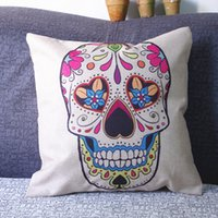 Cheap 2015 HOT New Fashion Rose Skull Printing Cotton linen Hold Cushion Cover Pillow Case Waist Pillow Cover Pillowcase Sofa Bed Home
