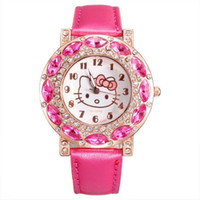 Wholesale Hello Kitty Design Crystal Rhinestone Leather Watches Women Quartz Analog Wristwatch For Ladies Clocks Best Gift