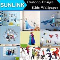 Wholesale Cartoon Wall Stickers Home Decor Frozen Elsa Anna Big Hero Baymax Wallpaper Removable Sticker Waterproof Room Decorative Poster Kids Love