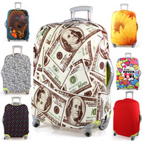 Wholesale printed elastic polyester travel luggage cover for inch suitcase Protective Cover Travel Trunk Dirt Proof