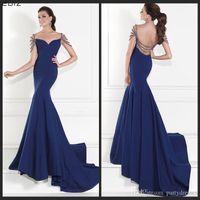 Cheap Tarik Ediz Evening Prom Dresses Memraid Royal Blue Backless With Beading Crystals Long Special Occasion Dress Formal Celebrity Party Dress