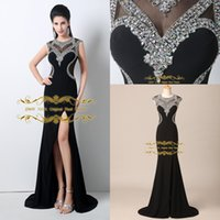Wholesale 2015 Black Evening Dresses Jewel Sequins with Chiffon Sweep Train Evening Dress Long Sheath Sexy Split Side Formal Party Prom Gowns HYC18