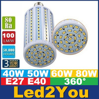 Wholesale E40 B22 E27 Led Corn Lights SMD High Power W W W W Led Light Bulbs Angle AC V ce ul