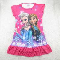 Em meninas de estoque 2014 quente venda verão veste camisola de crianças de padrões congelados princesa Cartoon 100% algodão crianças pijamas pijamas 80pcs