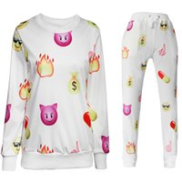 Wholesale Women Men Lovers Emoji Joggers Hoodie Sweatshirt Pullover Printed Pants Loose Sweatpants Trousers Sports Gym Jogging Suits Tracksuits White