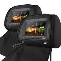 Wholesale 2x7 quot Digital Screen Black Headrest Car DVD Headrest Car Monitor with DVD FM Transmitter IR Transmitter Grey Beige Optional