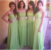 Cheap Fancy Lime Green Sheer Neck A Line Jewel Long Bridesmaid Dresses Beads Ruched Sleeveless Prom Gowns 2015 For Wedding Party