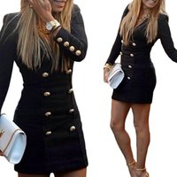 Wholesale S5Q Women s British style Dresses Business Casual Button Long Sleeve Slim Bodycons Winter Work Pencil Dress Black AAAEGX