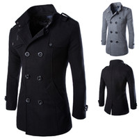Wholesale Casual Trench Coats - 2014 Casual Double Breasted Coat Men British Style Stand Collar Slim Fit Long Trench Coat Men Mens Wool Pea Coat Manteau Homme