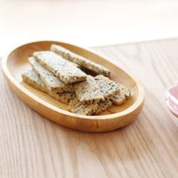 Wholesale Japanese Style Oval Dishes Shape Natural Wooden Snacks Dish Wood Plates