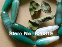 el envío libre (2 filamentos / porción) la piedra natural verde 10 * 30mm cuentas de ágata ónix en forma de lágrima