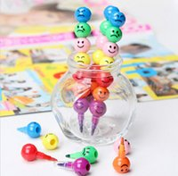 Wholesale New Pen Stationery Colors Crayons Creative Sugar Coated Haws Cartoon Smiley Graffiti Best Selling
