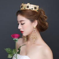 baroque pearl earrings - Gold Tiaras Hair Accessories Baroque Style Wedding Crown Pageant Crowns Tiaras Red Hair Accessories for Weddings Bridal Earrings