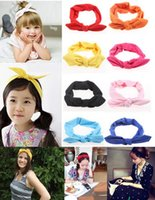 big bunny - 70pcs Girl Mom Parents Cotton Bow Headbands color Big Bunny ear headband kiki Cotton Hairbow headbands
