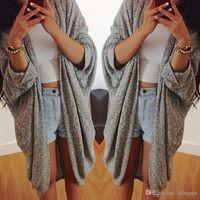 Wholesale Womens Casual Plus Size Knit Sweater Coat Cardigan Jacket Fashion Lady Batwing Sleeve Open Stitch