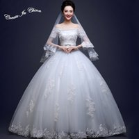 Wholesale 2016 cheap lace off shoulder strape bubble wedding dress for festive occasion