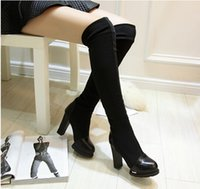 over knee high heel boots - Women fashion sexy high heeled boots over the knee boots stretch boots Black