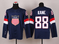 Wholesale 2014 Winter Olympic Team USA Patrick Kane Navy Blue Ice Hockey Jerseys Fans Favorite Ice Sports Jersey High Quality Brand Hockey Wears