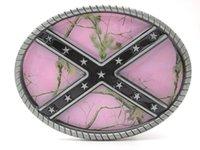 Wholesale Oval Pink Camouflage Rebel Belt Buckle