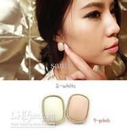 gemstone earrings - Brief bordered pink rectangle stud earring earrings female gemstone earring