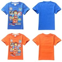 Wholesale Summer Cartoon The lego movie boy Children Baby short sleeve T shirts Kids Clothes Cotton leisure T Shirt