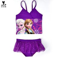 bathing baby girl - Elsa Anna Swimwear Kids Swimming Bikinis Set Two Pieces Baby Girls Bathing Suit Children Purpel Lace Sequined Swimsuit CL045