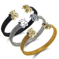 bear net - Net Wire Steel Cuff Bangle Bear Clasp L Stainless Steel Bracelets Jewelry for Men and Women SB01534