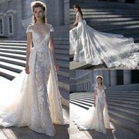 Wholesale Short Peplum Bridal Dresses - Berta 2016 Wedding Dresses Luxury Lace Detachable Skirt Sexy Illusion Bodice Backless Peplum Appliques Chapel Train Designer Bridal Gowns