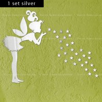 Wholesale set fairy with stars PS wall decal MM thickness D mirror stickers home decor kids bedroom decoration silver