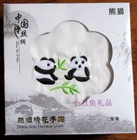 ladies handkerchiefs - Unique White Silk Embroidery Panda Handkerchief Fashion Accessories Chinese Gift mix style