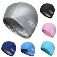 Wholesale 2015 new Free size Waterproof PU Fabric Protect Ears Long Hair Sports Siwm Pool Swimming Cap Hat Free size for Men Women Adults