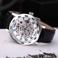Wholesale Luxury Hollow Transparent Dial Winner Classic Skeleton Dial Hand Winding Watch Leather Band Strap Mechanical Sport Army Watches for Men