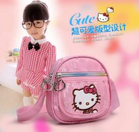 Wholesale Fashion Childrens Hello Kitty Shoulder Tote Bag Kids Adjustable Single Shoulder Cartoon Message Shopping Lunch Book Bags Christmas Gifts