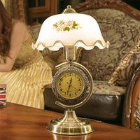 glass table clock - Clock Table Lamp Camellia Glass Table lamp European Rural Contracted Style Bedroom Living Room Study Desk Light