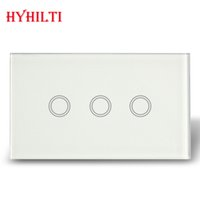 Wholesale Hot Selling AU US Standard Touch Waterproof Glass Panel gang Electrical Light Switches with blue LED backlight AC110 V