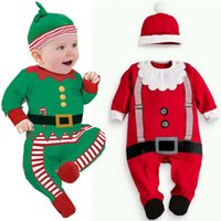Wholesale Hot Baby Christmas Clothes Outfits Boy Girl Kids Romper Hat Cap Set Gift for Y WL