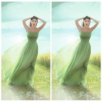 apple outside - Strapless A Line Chiffon Prom Dresses Pleated Ruched Custom Online Formal Women Outside Garden Evening Dress