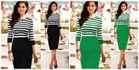 Wholesale 2015 Autumn Office Dresses for Women Pancelled Striped Knee Length Pencil Dresses Elegant Quality Business Ladies Bodycon Dress