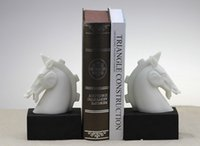 Cheap The new book by Chinese white horse head bookends Home Furniture Decor Photography Props study sample room furnishings