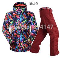 Wholesale new style men ski suit snow boarding jacket pants one set windproof and breather ski suit waterproof warm skiwear
