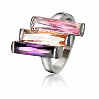 diamond ring - Diamond Ring Unique Design Rectangular Colorful Cubic Zircon High grade Silver Plated Copper Rings For Luxury Women Hot Sale Jewelry