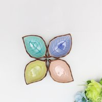 beautiful small kitchens - Beautiful Crackle Glaze Leaves Seasoning dish Small ceramic saucer dish flavored plate Spice dish Kitchen tools