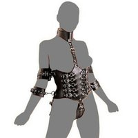 adult sex products - Adult Sex Products PVC Leather Harness Strap On Body Arms HandCuffs Restraint Collor Slave Fetish Styling Tools