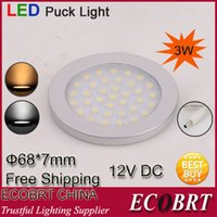 Cheap 2014 Lamps Chandelier Smd3528 12v Kitchen Led Cabinet Light Round Flat Surface Downlight Aluminum Housing 6pcs lot Free Shipping