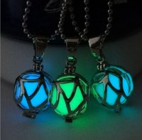 Wholesale Glow In Dark Locket Pendant Necklace Aromatherapy Essential Oil Diffuser Hollow Ball Lockets Necklaces For Women Men Jewelry Gift Hot Sale