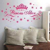 al por mayor arte de la pared nombre-Envío gratuito de atención al cliente a la medida conocida personalizada princesa Crown Estrellas Art etiqueta de la pared de las muchachas de los niños de la etiqueta