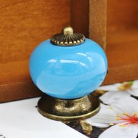 Wholesale 7 Colors Ceramic Handle Cabinet Door Pull Knobs Drawer Locker Cupboard Vintage Handle Furniture Hardware Product X60 JJ1034W