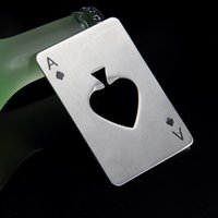 Wholesale Hot Poker Playing Card Spades Ace Bar Tool Soda Beer Bottle Cap Opener Silver Gift Stainless Steel