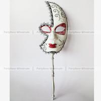 Wholesale Half Face Hand Paint Venitian Mardi Gras Party Mask On Stick